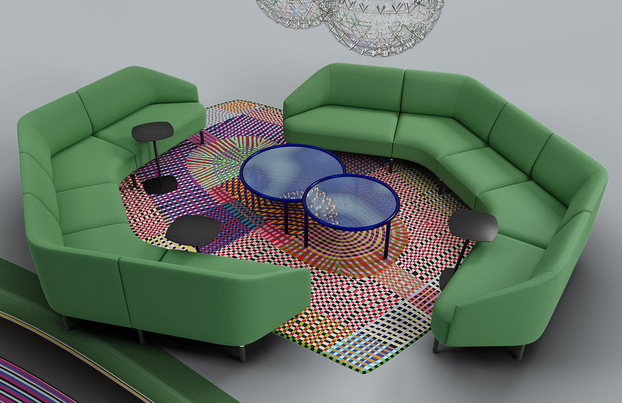 couch caletta office blaha buero muster blau couchtisch gruen raumtrenner