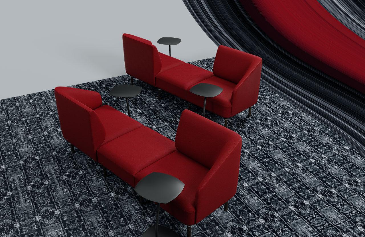 couch caletta office blaha buero rot grau