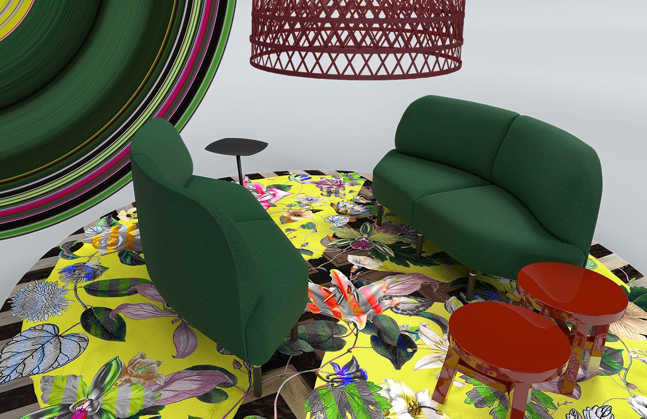 couch caletta office blaha buero rot gruen couchtisch blaetter