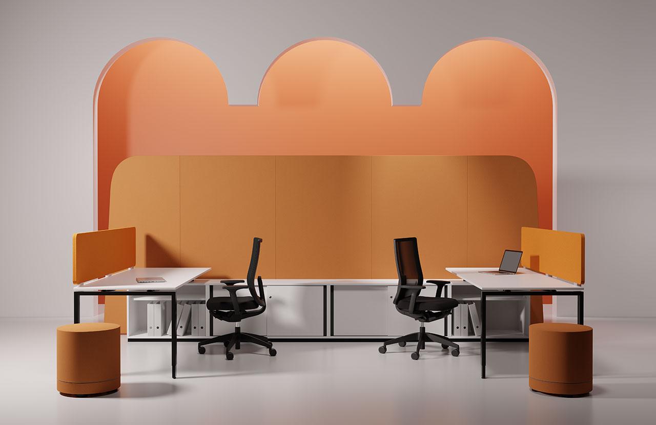 evolution blaha buero g1 tisch tischsysteme edel verspielt orange design